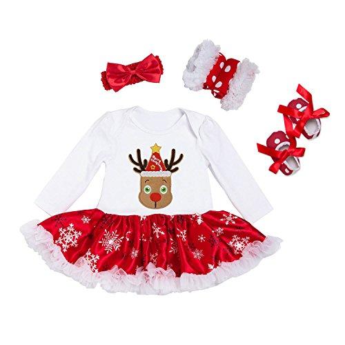BabyPreg Niñas bebés Mi Primera Navidad Traje de Santa del Partido del Vestido 4PCS (Oveja, S/3-6 Mes)