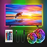 Striscia LED TV 2M,RGB 5050 USB Striscia Led 16 Colori e 4 Modalità Luci Led Kit TV per HDTV da 40-60 Pollici PC Monitor e Camera da Letto 5V 1A