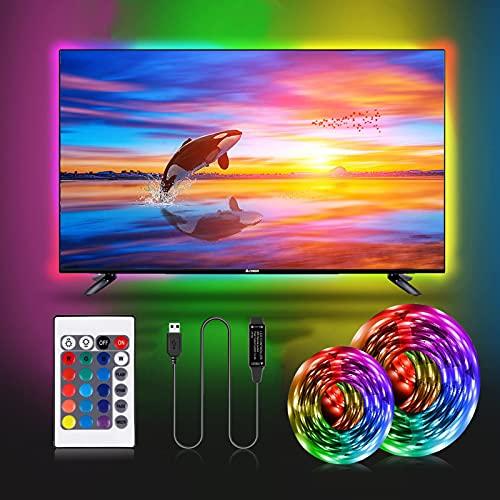 Striscia LED TV 2M,RGB 5050 USB Striscia Led 16 Colori e 4 Modalità Luci Led Kit TV per HDTV da 40-60 Pollici PC Monitor e Camera da Letto 5V 1A
