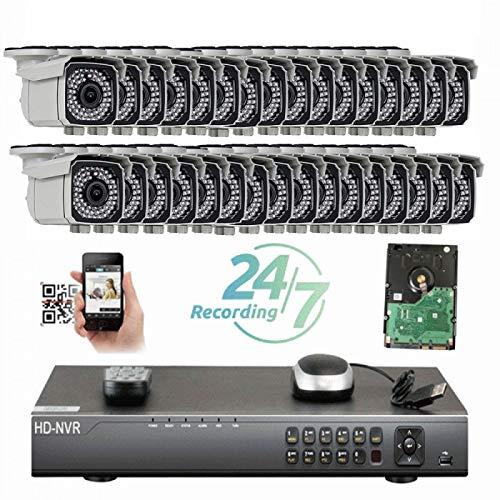 Sale!! Amview Security 32Channel 4K 12MP NVR 5MP IP Camera Network PoE Surveillance System with 32 B...