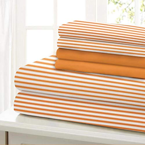 Traditional Home Sheet Set Cotton Percale 6 Piece Print Stripe Twin Full Queen King Soft Luxury (Orange Stripe, Twin)