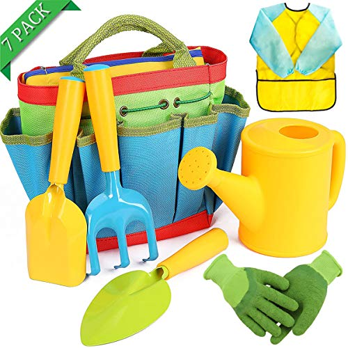 7 Pack Childrens Gardening Set Kids Gardening Gloves Tool Bag Watering Can Trowel Rake Shovel Apron Gardening Kit for Kids Boys Girls