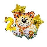 Yinyimei Globos 6 unids Baby Shower 4d Animal impresión Globos cumpleaños Jungle Tema Fiesta Boda decoración niños bebé niño cumpleaños número Globos (Color : Set-3)