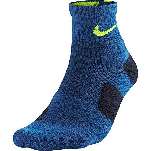 Nike Mens Elite High Quarter Basketball Socks (SM (Womens Shoe 4-6), University Blue (472) / Obsidian/Volt)