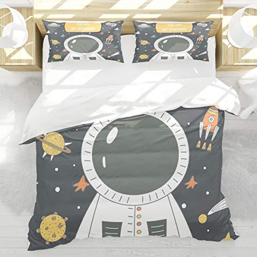 BEDNRY Vous êtes Mon Astronaute Griffonnage Cosmique avec étoiles Rocket Moon Comet Galaxy UFO Housse de Couette 140x200cm 2 taie d'oreiller 50x75cm