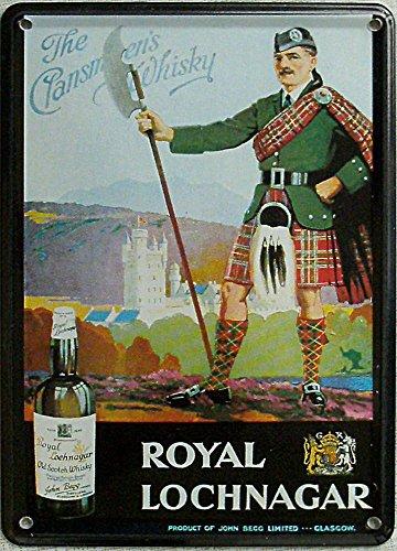 Mini-Blechschild Royal Lochnagar Whisky, 8 x 11 cm
