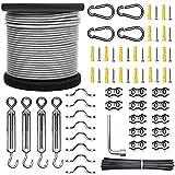 SUNMEG kit de cuerda de acero inoxidable, kit para colgar luces para exteriores, cable de acero inoxidable 304 con revestimiento de vinilo,tensor de alambre (Transparente, 61M kit)
