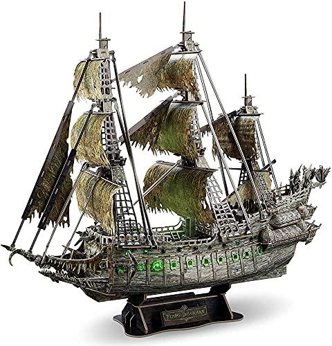 HLFGJE Rompecabezas 3D Adulto Pirata Barco navegación 69 cm LED Curvy del Caribe Flying Dutchman Modelo Kits 360pcs Negro Pearl Ghost Ship Decoración del hogar DIY