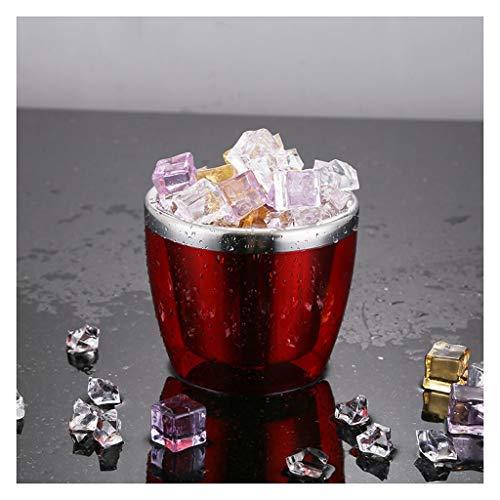YZERTLH Doble Mini Mini Cubo de Hielo Acero Inoxidable Champagne Barra de Cubo Barra Restaurante Cerveza Cubo Cubo Cubo Cubo Bebida Cubo de Alimentos (Color : Red)