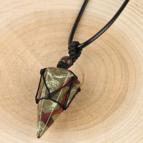 Collares Pendientes De Piedra,Moda Unisex Tejido Negro Cuerda Envuelta Dragón Natural Piedra De Sangre Piedra Preciosa Cono Colgante Cadena De Cuero De Moda Encantos Regalo De La Joyería Para
