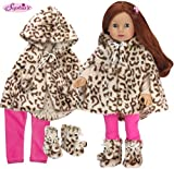 Sophia's Doll Clothes 3 Pc.Set Includes Doll Coat Animal Print Fur Cape, Doll Boots & Hot Pink Leggings for Dolls in the Winter and 18 Inch Girl Dolls Such as American Dolls & More!  Doll Not Included