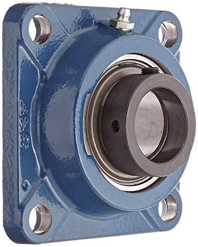 "SKF F4B 108-FM Ball Bearing Flange Unit, 4 Bolts, Eccentric Collar, Regreasable, Contact Seal, Cast Iron, 1-1/2"" Bore, 4"" Bolt Hole Spacing Width, 5310lbf Dynamic Load Capacity"