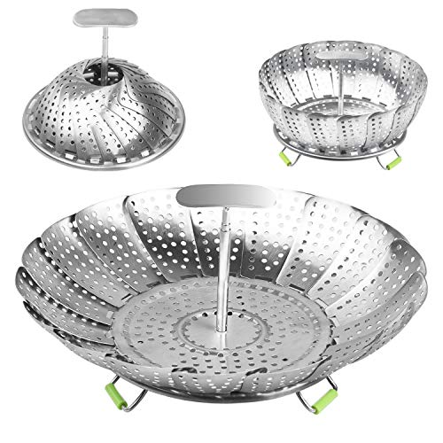 Dveda Faltbarer Dampfgarkorb, 100% Edelstahl, Gemüse-Dampfkorb mit Teleskopgriff, passend für Schnellkochtopf (14 cm bis 22,9 cm)