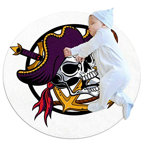 Skull Knife Rudder Round Area Rugs Super Soft Carpet Best Gift for Kids to Decorate Living Room Bedroom Home Office 2feet 3.5inch