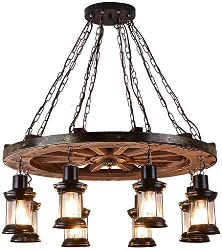 Dongyd Retro Hanglamp 8 Vlam Vintage Kroonluchter Spiraal Lamp Ophanglamp Ijzer Hanglamp voor Restaurant Woonkamer Slaapkamer Oude Kasteel
