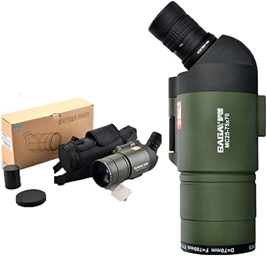 MOM Voyager vers le télescope panoramique Sp 25-75 X 70 Spotting , Scope Ipx7 rempli de trépieds et de sacs antichoc étanches et antichoc Watch Watch Archery Travel,Portée