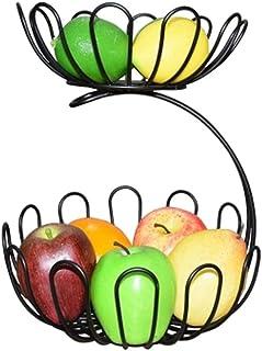 2-Tier Countertop Fruit Basket Holder et bol décoratif Stand-parfait for les fruits, les légumes, collations, Articles mén...