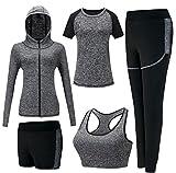 ZETIY Femmes 5 Pièces Ensembles Sportswear Yoga Gym Tenues Survêtement (XL, Gris)