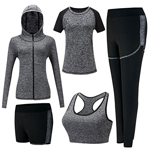 ZETIY Damen Traingsanzug Yoga Kleidung Anzug 5er-Set Sportanzüge Jogginganzug Gym Fitness Kleidung Laufbekleidung Sportswear Sport Yoga Outfit Damen BH Leggings Set (Medium, Grau)