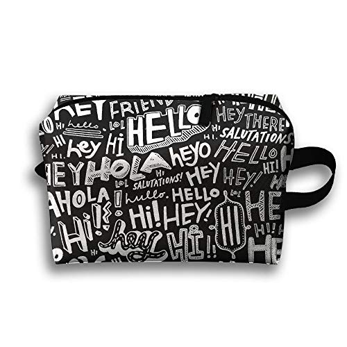 Hello Hey Hi Travel Bag Toiletries Bag Phone Coin Purse Cosmetic Pouch Pencil Case Tote Multifunction Organizer Storage Bag Makeup Pouch