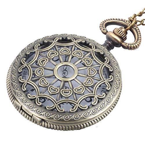 81stgeneration Herren Frauen Analog Quarz Vintage Stil Taschenuhr Anhänger Halskette Messing