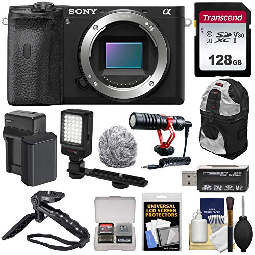 Sony Alpha A6600 Mirrorless Digital Camera Body with 128GB Card + Battery & Charger + Backpack + Grip/Tripod + Video...
