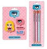 Set Scuola Chiara Ferragni con 3 matite e 4 gomme + Penna luminosa led e penna multicolore profumata + portachiave paillettes