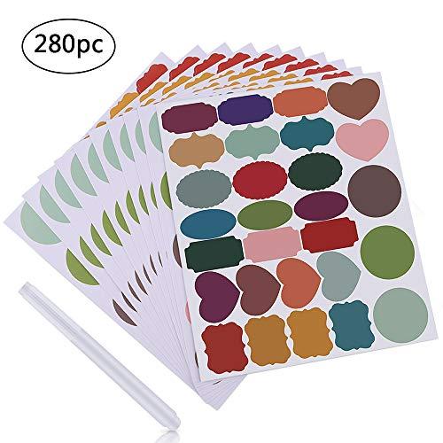 MUXItrade 280x Tafeletiketten selbstklebend mit 1x löschbar Kreidemarker Bunt Etiketten Partner für Küchen Gewürzgläser wiederverwendbar wasserdicht Tafelaufkleber Tafelfolie Sticker
