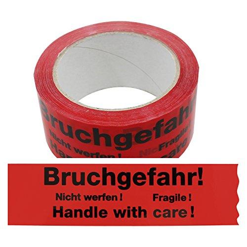 Klebeband Bruchgefahr - Nicht werfen - Fragile - Handle with Care 2-sprachig Paketband Packband Warnband Hinweisklebeband