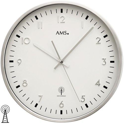 AMS Wanduhr 5914 Funk Metallgehäuse aus gebürstetem Aluminium, Mineralglas