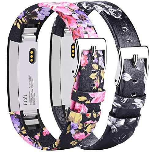 Tobfit - Cinturino di ricambio per Fitbit Alta HR in pelle, regolabile, per Fitbit Alta e Fitbit Alta HR (fiore rosa+fiore grigio)