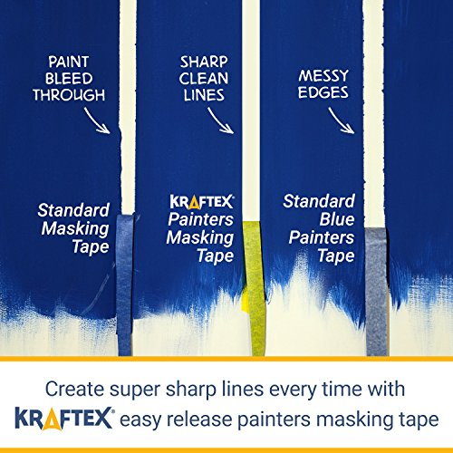 Painters Tape 180YRD x ¾ Inch for Pro Painting [CLEAN LINES EVERYTIME] 3 x 60YRD Rolls. Masking for Paint, Wallpaper, Wood, Glass, Metal. Protect Walls, Surface, Trim. Yellow Paper Tape, Prevent Stain Photo #3