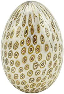 GlassOfVenice Huevo Millefiori de cristal de Murano, color crema dorado