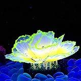 Danmu 1pc of Glowing Effect Artificial Coral, Aquarium Coral Decor, Coral Ornaments, Plant Ornaments for Fish Tank Aquarium Decoration Flower Shape 2 7/10' x 3 9/10' (Orange)