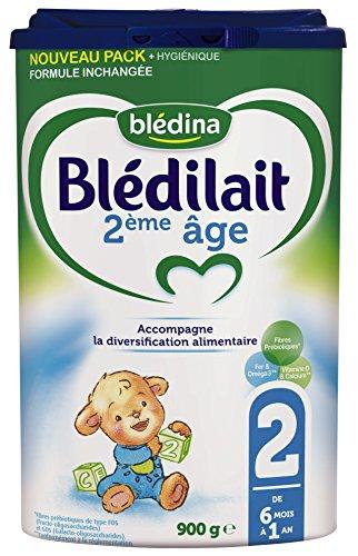 Blédina - Blédilait - Lait bébé 2ème âge - 6 mois à 1 an - Lot de 3x900 g