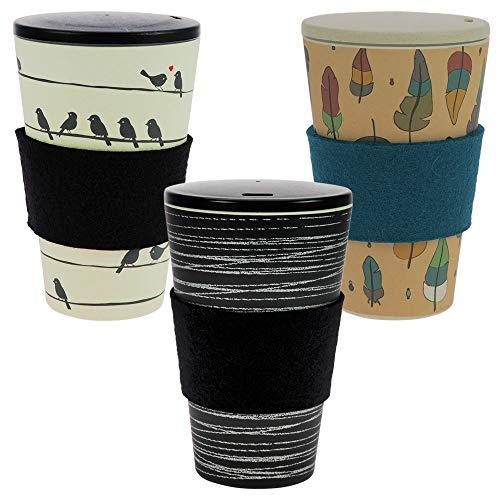 ebos 3er-Set Bambus Coffee-to-Go-Becher | Schraubdeckel, Wollfilz-Griffring, Kaffee-Becher, wiederverwendbar, umweltfreundlich, spülmaschinengeeignet (O.L.E, Loving Birds, Zauberfeder)
