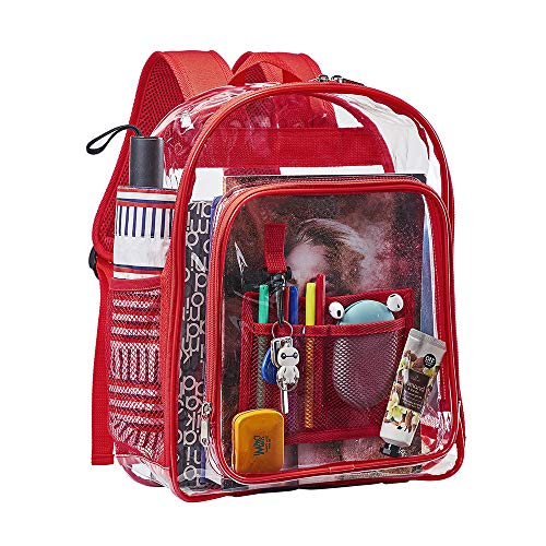 Heavy Duty Clear Backpack, Transparent Bookbag with Mesh Pocket and Key Hook for School, Work and Travel