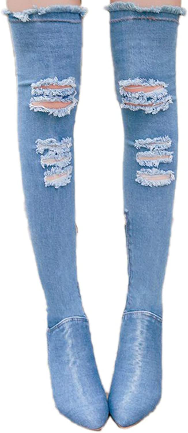 GEORPE Hollow Out Pointed Toe Over Knee bluee Denim Lace-up Boots Long High Heel Jean Boots
