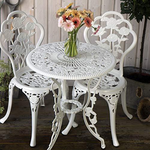 Lazy Susan™ London Rose 60cm Round 2 Seater | Sand-cast Aluminium Garden Furniture Set | Weatherproof | Maintenance Free | Matching Bistro Chairs | Classic White Finish
