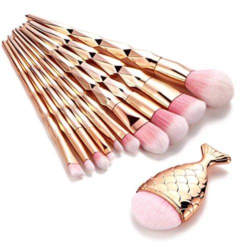 Kanpola Beauty Pinselset 11PCS Make Up Foundation Eyebrow Eyeliner Blush Cosmetic Concealer Brushes (Gold, A)