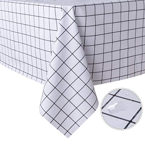 sancua Checkered Vinyl Rectangle Tablecloth - 54 x 78 Inch - 100% Waterproof Oil Proof Spill Proof PVC Table Cloth, Wipe Clean Table Cover for Dining Table, Buffet Parties and Camping, White