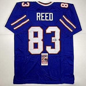 Autographed/Signed Andre Reed HOF 14 Buffalo Blue Football Jersey JSA COA