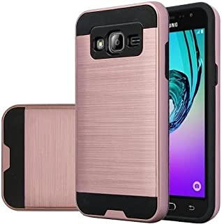 Galaxy J7 Case, Samsung Galaxy J7 [Shock Absorption / Impact Resistant] Hybrid Dual Layer Armor Defender Protective Case Cover for Galaxy J7 (Boost Mobile,Virgin,MetroPcs,T-Mobile),(Brush Rose Gold)