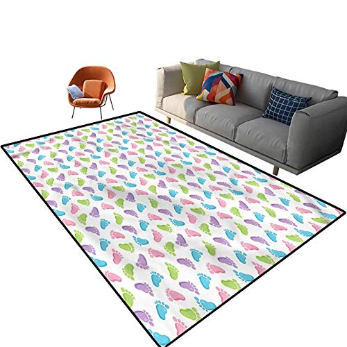 Indoor Room Baby Area Rugs,3'x 5',Children Foot Pattern Floor Rectangle Rug with Non Slip Backing for Entryway Living Room Bedroom Kids Nursery Sofa Home Decor