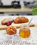 Mkouo Glas honigtopf mit Honigbehälter Honig Löffel Zum Servieren von Honig und Sirup, 9 Ounces (265ml) - 2