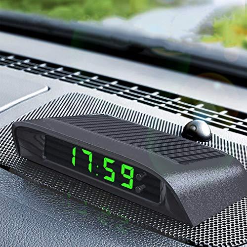 WHFY Auto Digitaluhr Thermometer Solarbetrieben Uhr Mit Eingebauter Batterie,Fahrzeug Armaturenbrett Uhr Autodekoration Elektronisches Zubehör (Blau)