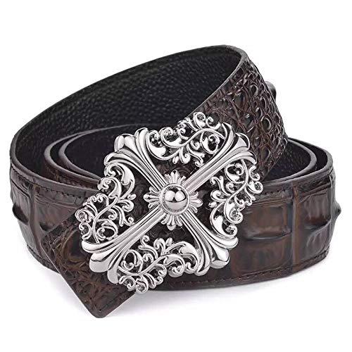 Xme Cinturón de piel de vaca de moda con patrón de cocodrilo de cuero para hombre, cinturón de pantalón de negocios de alta gama simple casual