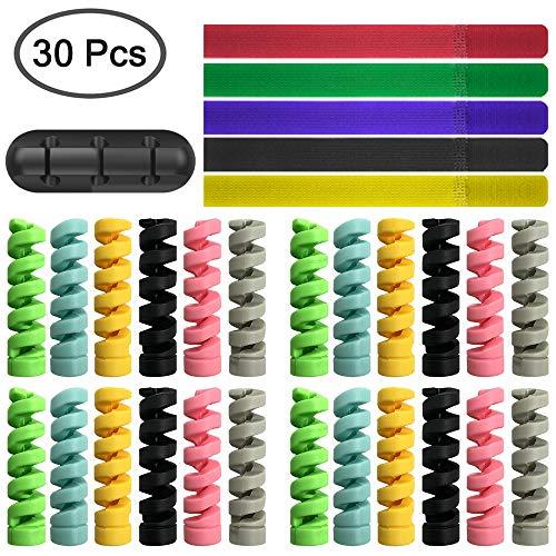 FineGood 24 protectores de cables y clips de cable y bridas, protector de cable flexible de silicona para cable de ratón y teléfono móvil, color negro, rosa, gris, azul, verde, amarillo