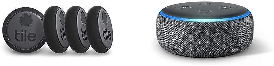 Tile Sticker (2020) - 4-Pack Echo Dot (3rd Gen) Amazon Smart Speaker with Alexa
