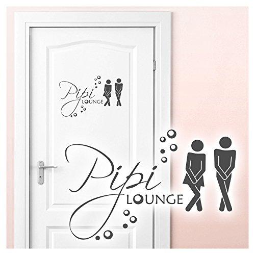 Grandora Wandtattoo Sprüche PIPI Lounge Mann Frau I dunkelgrau 27 x 18 cm I WC Türaufkleber Piktogramm Bad Badezimmer Wandaufkleber Wandsticker W755